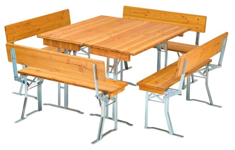 bierbankgarnituren aus douglasienholz brauereiqualit t. Black Bedroom Furniture Sets. Home Design Ideas