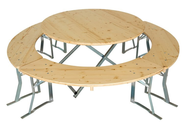 Runde Biertischgarnituren 120cm bis 200cm Tischgröße