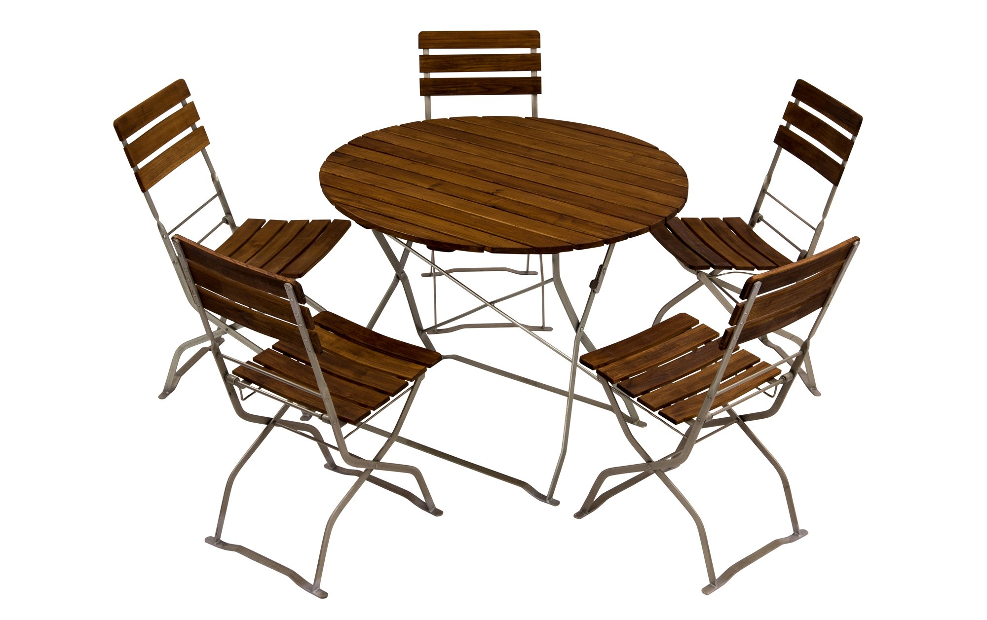 Biergartenmöbel ein Meter Rundtisch mit Biergartenstühle